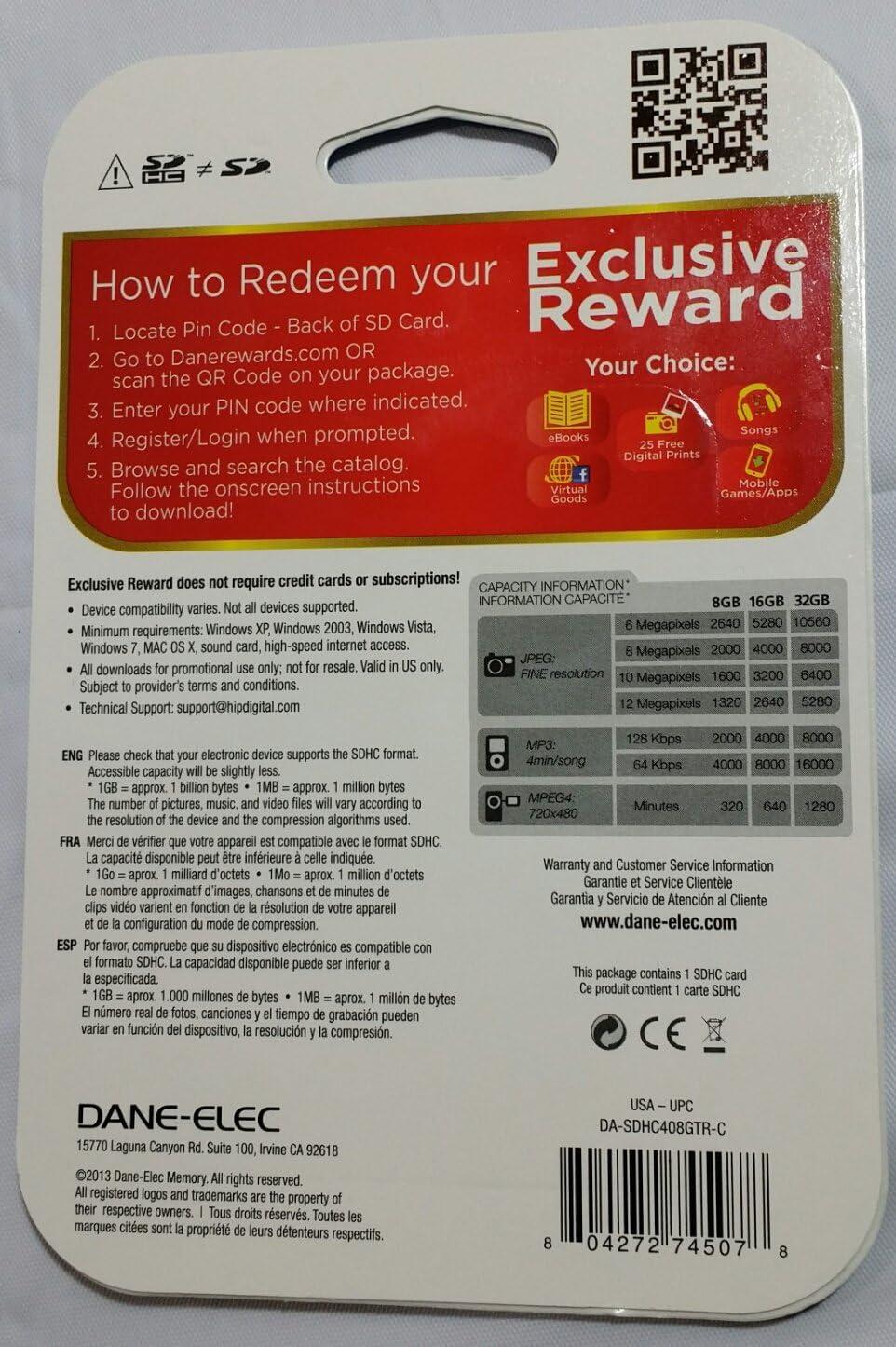 Dane-Elec SDHC High Speed 8GB Exclusive Reward