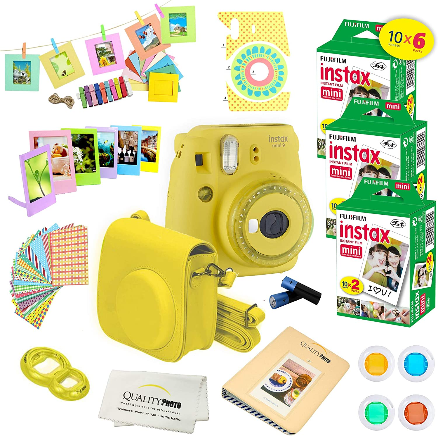 Fujifilm Instax Mini 9 Instant Camera W Fujifilm Instax Mini 9 Instant Films 60 Pack A14 Pc Deluxe Bundle For Fujifilm Instax Mini 9 Camera Yellow Camera Photo