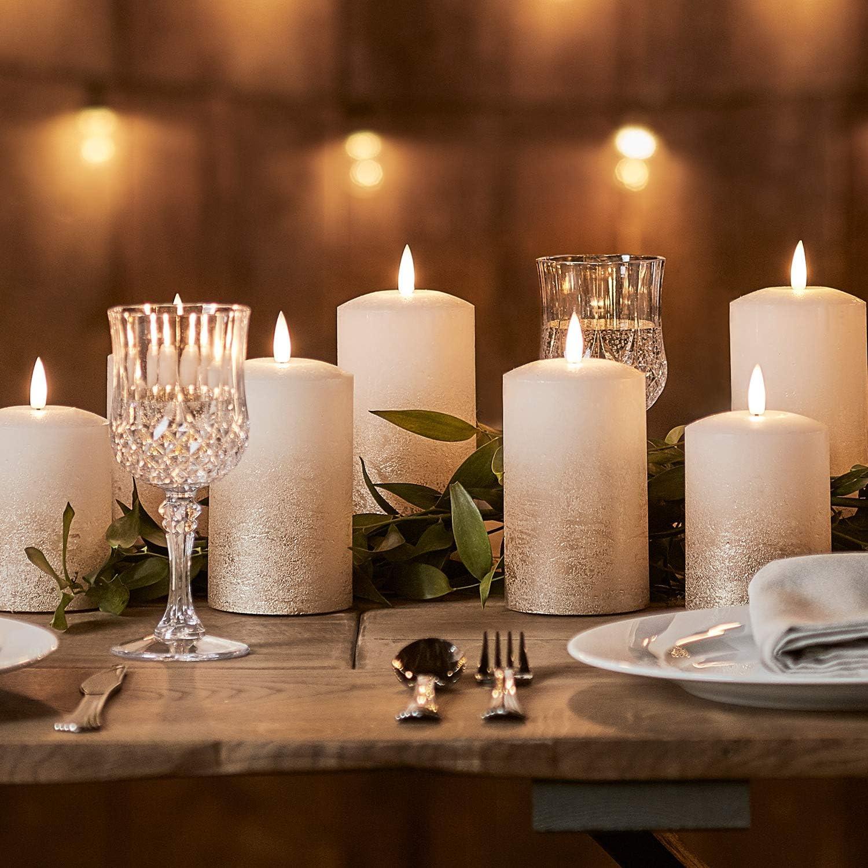 Lights4Fun, Inc. Satz von 3 Truglow Bronze Ombre Wax Flameless geführt Battery Operated Pillar Candles mit Timer