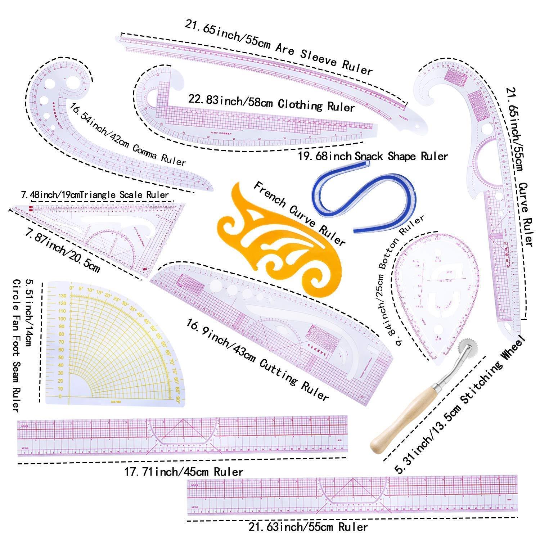 Garment Ruler DIHAN #5860 Metric L-Square multifuction Dressmaking Ruler French Curve Ruler Vary Form Plastic Tailor Fashion Design Ruler Tailoring Ruler Pattern Making Ruler Sewing Ruler