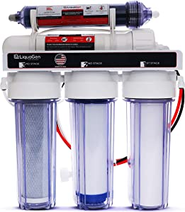 LiquaGen - 5-Stage Reverse Osmosis and Deionization RO/DI   Aquarium Reef Water Filter System - 75 GPD