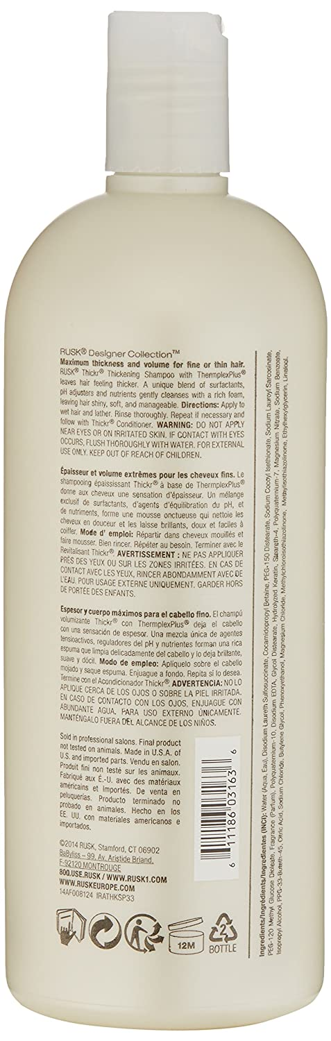 Amazon.com: RUSK Designer Collection Thicker Thickening Shampoo , 33.8 fl. Oz.: Rusk: Luxury Beauty