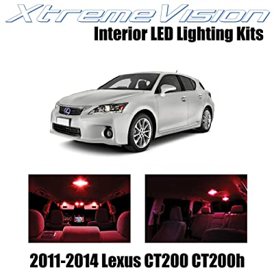 XtremeVision Interior LED for Lexus CT200h CT200 2011-2014 (8 Pieces) Red Interior LED Kit + Installation Tool: Automotive