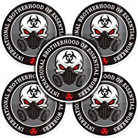 20 Pieces Essential Worker Hard Hat Sticker Pack, 2.4 Inch Nuclear Pattern Decals Helmet Sticker Full Color Printed for Hard Hat, Helmet, Windows, Walls, Bumpers, Laptop, Lockers (Grey and Black)