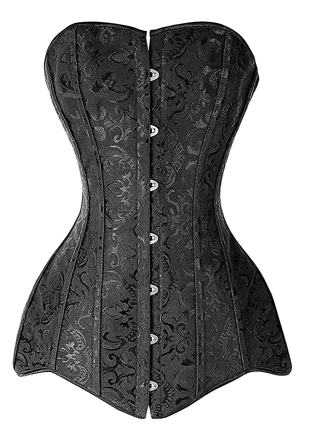 MISS MOLY Women's Gothic Steel Boned Long Torso Hourglass Bustiers Corsets Black M