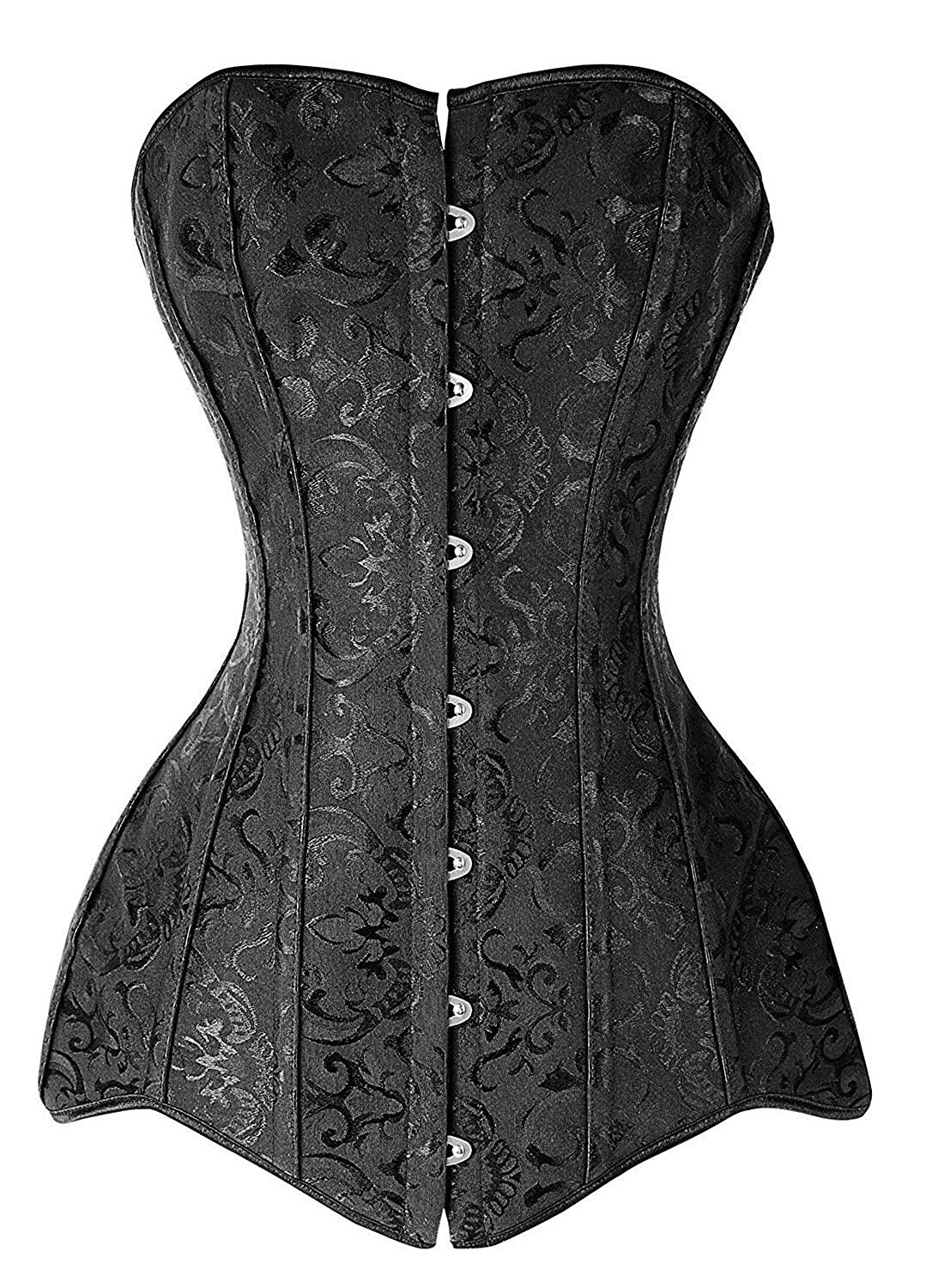 MISS MOLY Women's Fashion Faux Leather Buckle Steel Boned Underbust Vest Corset Plus Size (6XL, 16 Steel Long Torso)