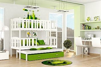 Etagenbett Für 3 : Etagenbett hochbett jakob farbe weiß grün mit einer