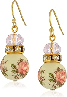 product image for 1928 Jewelry Pink Floral Decal Beaded Drop Earrings