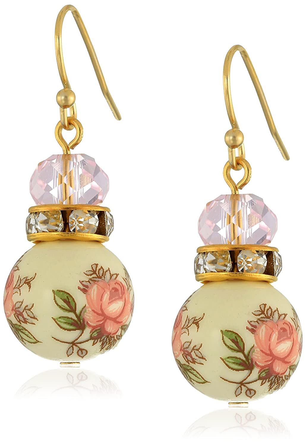 Amazoncom 1928 Jewelry Pink Floral Decal Beaded Drop Earrings