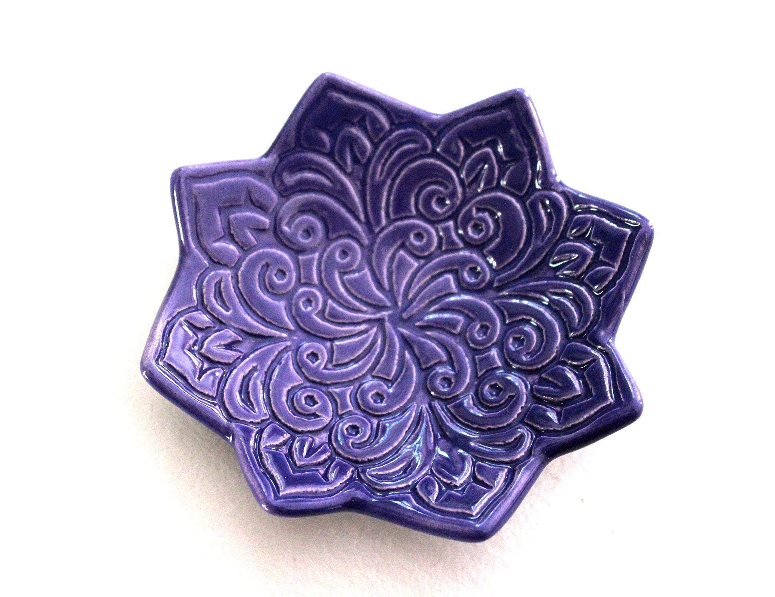 Indigo Star Shaped Ring Dish - Jewelry Holder, stamped with Boho floral pattern. Handmade in Colorado
