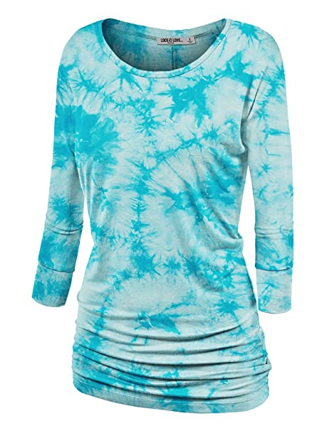 857809ce4f7 Lock and Love WT1059 Womens Round Neck 3 4 Sleeve Tie Dye Drape Top with