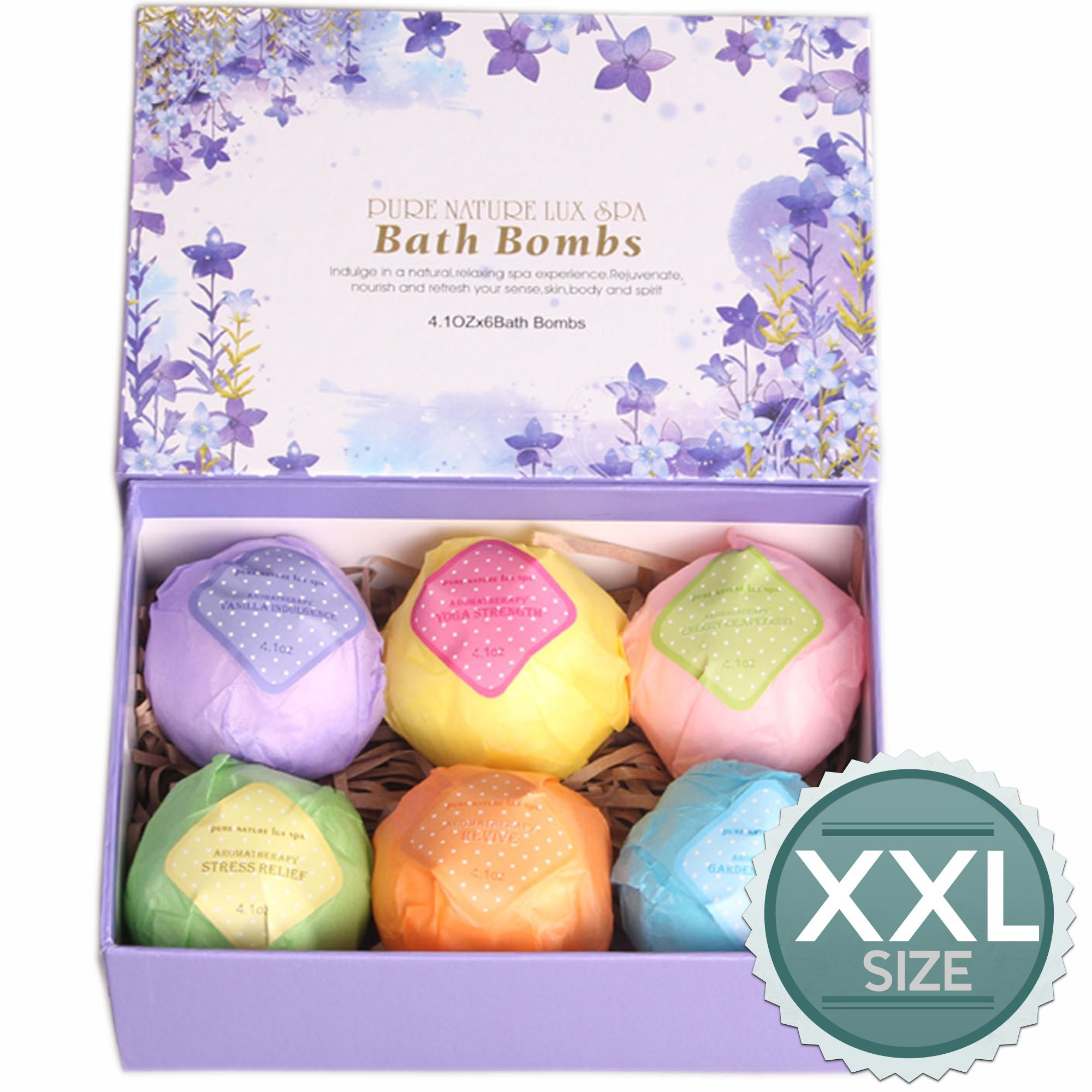 Amazon.com : Bath Bombs Ultra Lush Gift Set By NATURAL SPA - 6 XXL ...