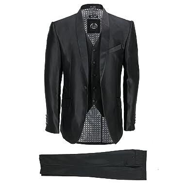 00e1d66a91cf Mens 3 Piece Dinner Suit Vintage Black Shawl Lapel Slim Fit Wedding Party  Prom: Amazon.co.uk: Clothing