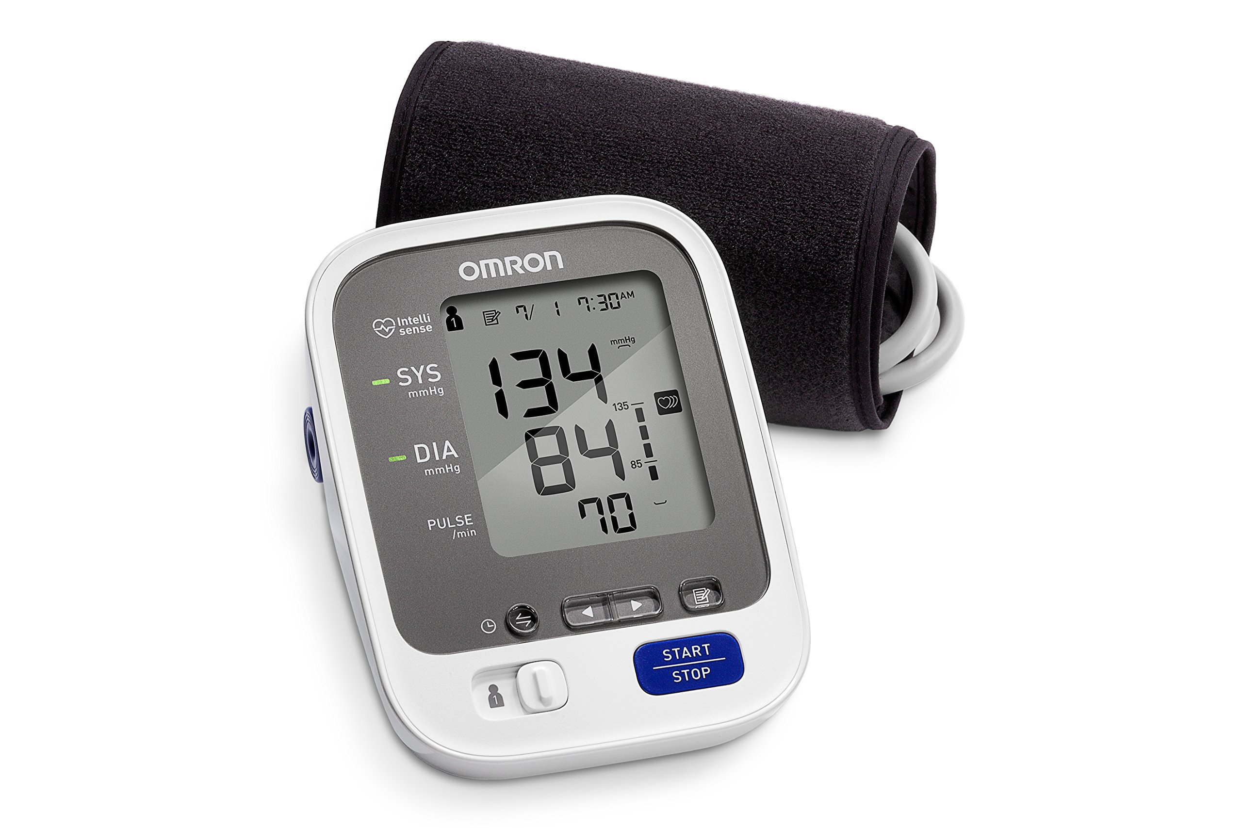 Omron 7 Series Wireless Bluetooth Upper Arm Blood Pressure Monitor with Two User Mode (120 Reading Memory)- Compatible with Alexa