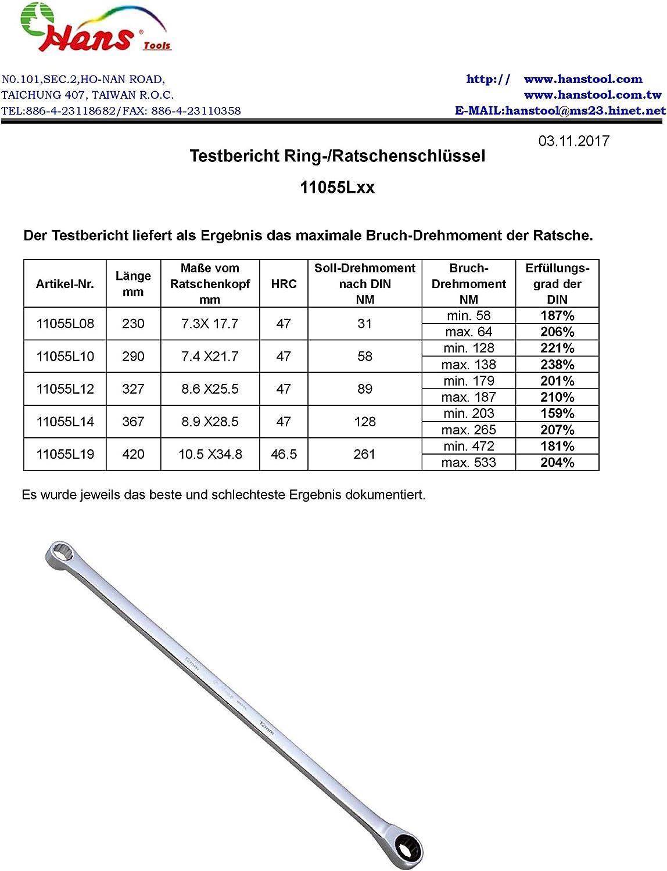6 mm Maul-Ringratschen-Schl/üssel 72 Z/ähne mit 5/° Nachholwinkel