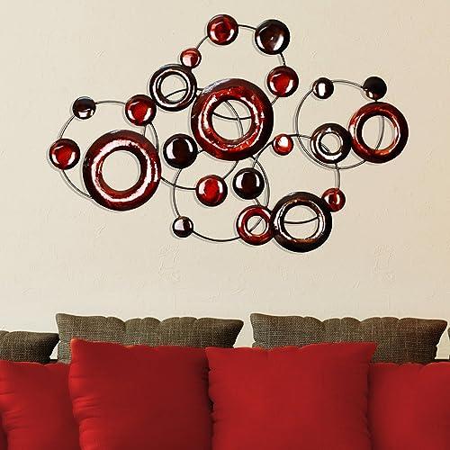 Stratton Home Decor SPC 940 Metallic Circles Wall Decor, Red, 32.00 W X 1.40 D X 22.00 H, Multi