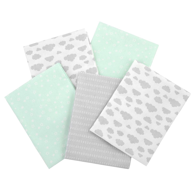 Gerber 100% Cotton Receiving Blankets, Green Flannel, 5 Count