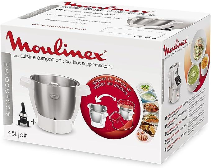 Moulinex Cuenco Companion XL XF380E12 Accesorio para Cuisine Companion y Cuisine iCompanion con Capacidad de 3 l, Acero Inoxidable: Amazon.es: Hogar