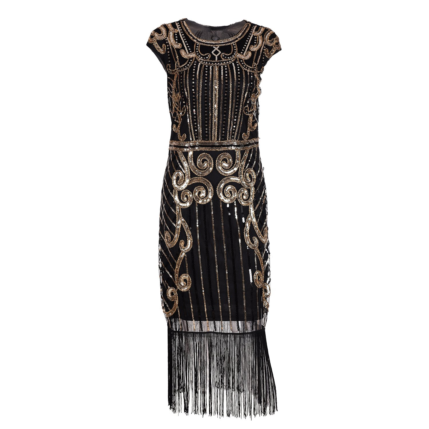 IMAGICSUN Sequin Cape Sleeve Beaded Dress - Fringe Hem Art Deco Dress