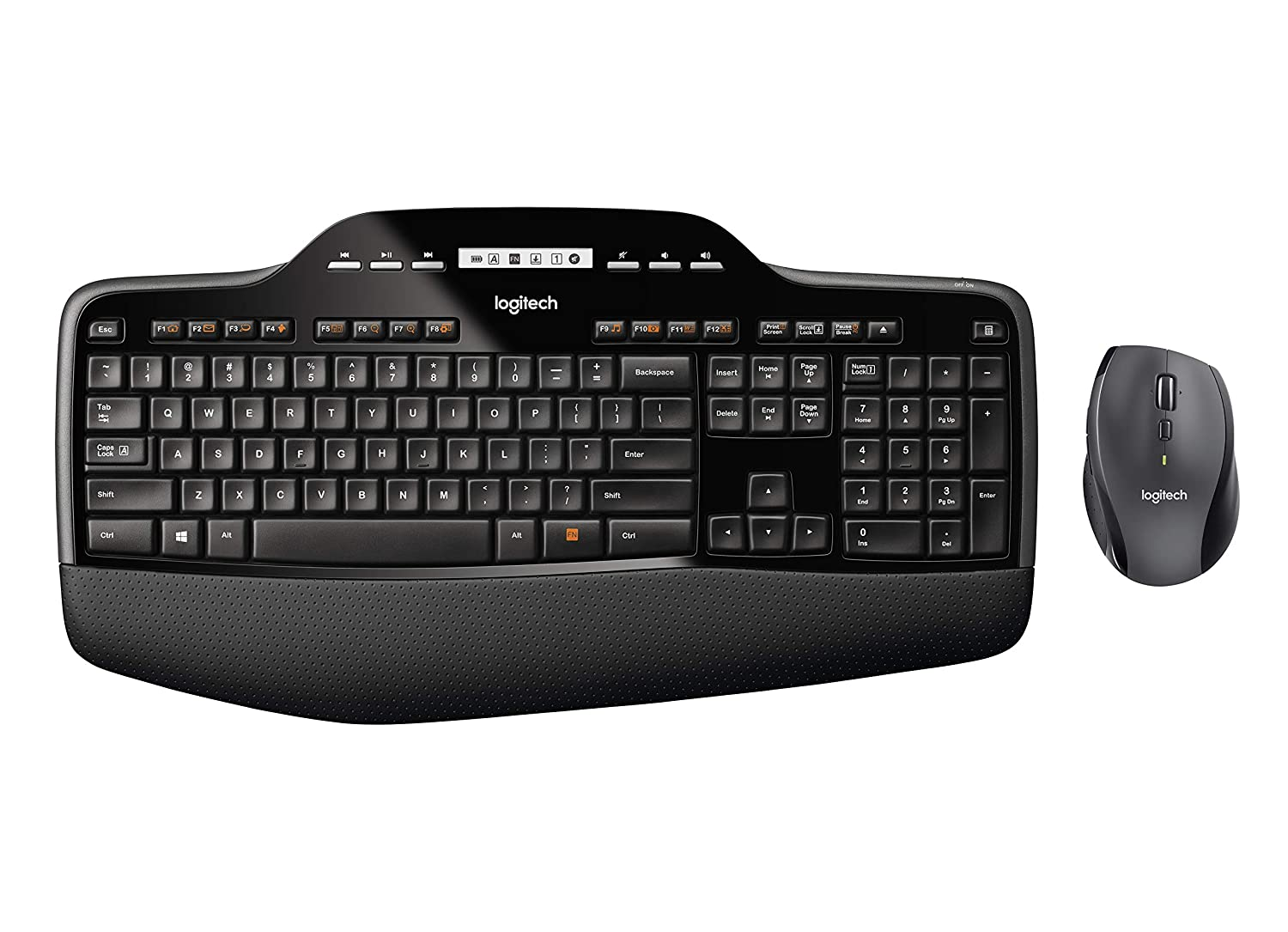 Logitech MK710 Wireless Keyboard and Mouse Combo — Includes Keyboard and Mouse, Stylish Design, Built-In LCD Status Dashboard, Long Battery Life