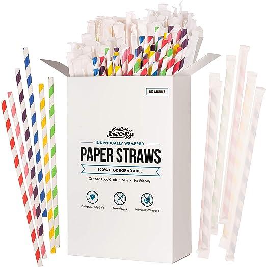 Pajitas de papel biodegradables, 150 unidades, desechables ...