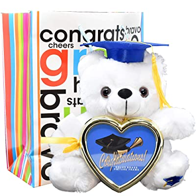 Graduation Gift Teddy Bear Cap Diploma Holding Picture Frame with Congratulations Gift Bag (Blue Cap): Toys & Games
