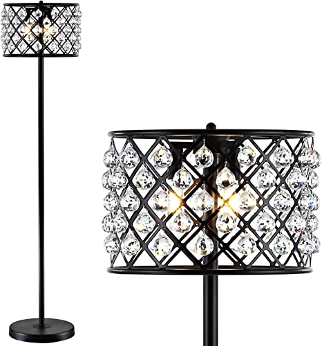 JONATHAN Y JYL9000B Elizabeth 60″ Crystal/Metal LED Floor Lamp