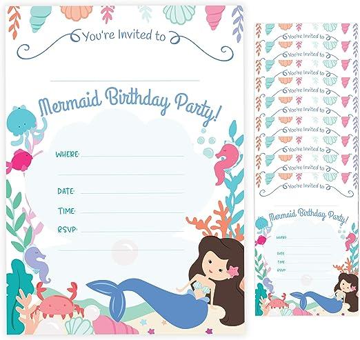 Amazon.com: Tarjetas de invitación de cumpleaños con sobres ...
