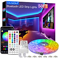 50FT LED Light Strips, ViLSOM 1 Roll of 15M Bluetooth App and Remote Control RGB LED Lights, Music Sync Color Changing…
