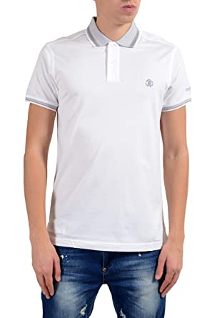 a2dc83a6 Image Unavailable. Image not available for. Color: ROBERTO CAVALLI Men's  White Short Sleeve Polo Shirt ...