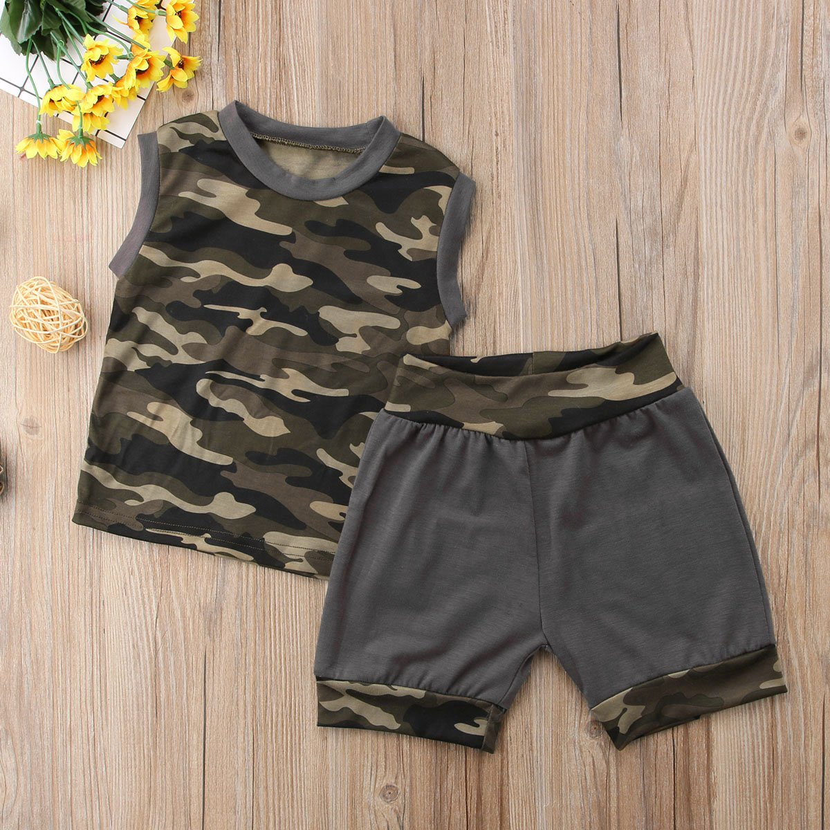 ONES Baby Toddler Boys Summer Camo Outfits Sleeveless Tank Top /& Pant Short Clothing Set