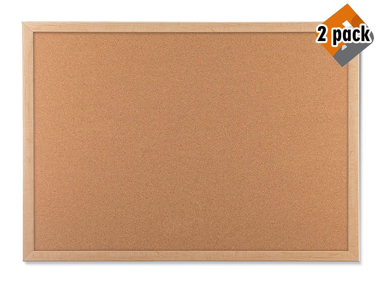 U Brands Cork Bulletin Board, 23 x 17 Inches, Light Birch Wood Frame (265U00-01) - 2 Pack by U Brands