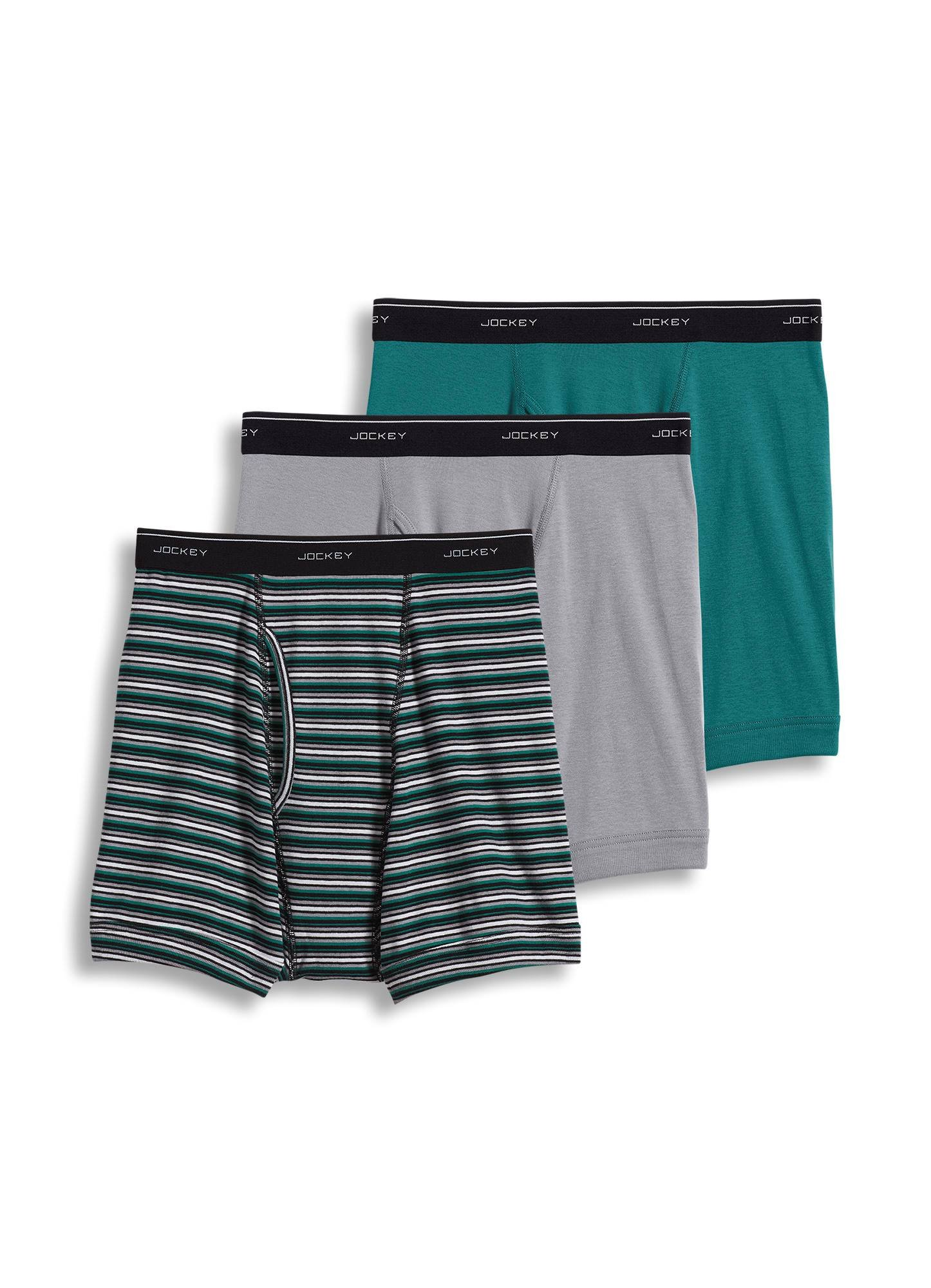 Jockey Men's Underwear Classic Boxer Brief - 3 Pack, Mid Grey/Grey and Green Stripe/Medium Sea Green, S