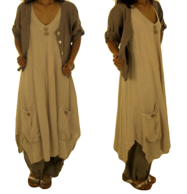 Mein Design Lagenlook de Mallorca Damen Kleid HE600 Tunika Leinen Taschen A-Linie ohne Arm asymmetrisch zipfelig Used Look Gr. 40, 42, 44, 46