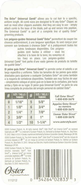 OSTER 076926-646-000 - Peine de Corte para cortapelos 97-44, 25 mm ...
