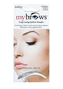 Godefroy MyBrows Long Lasting Eyebrow Transfers, High Arch, Medium Brown, 12-Pairs of Brows