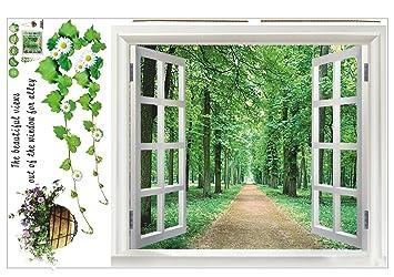 Blick aus dem fenster bilder  SODIAL (R) Riesige Fenster 3D-Blick ins Gruene Blumen Pflanzen ...