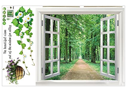 Sodialr huge window 3d green view flowers plant wall stickers art mural decal