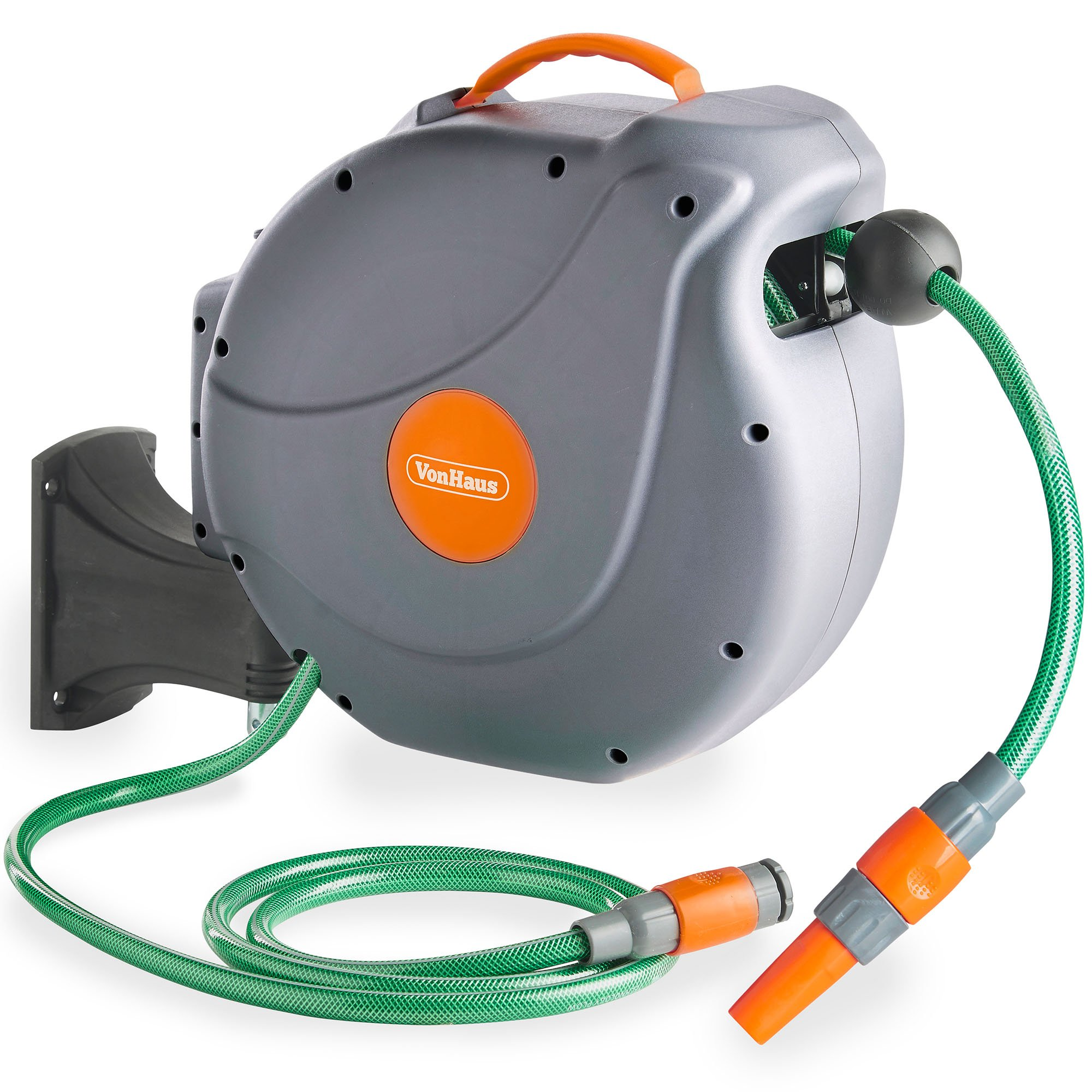 VonHaus Hose Reel - 20M Auto Rewind Wall-Mounted Reel for Garden - Includes Fixings - 180° pivot