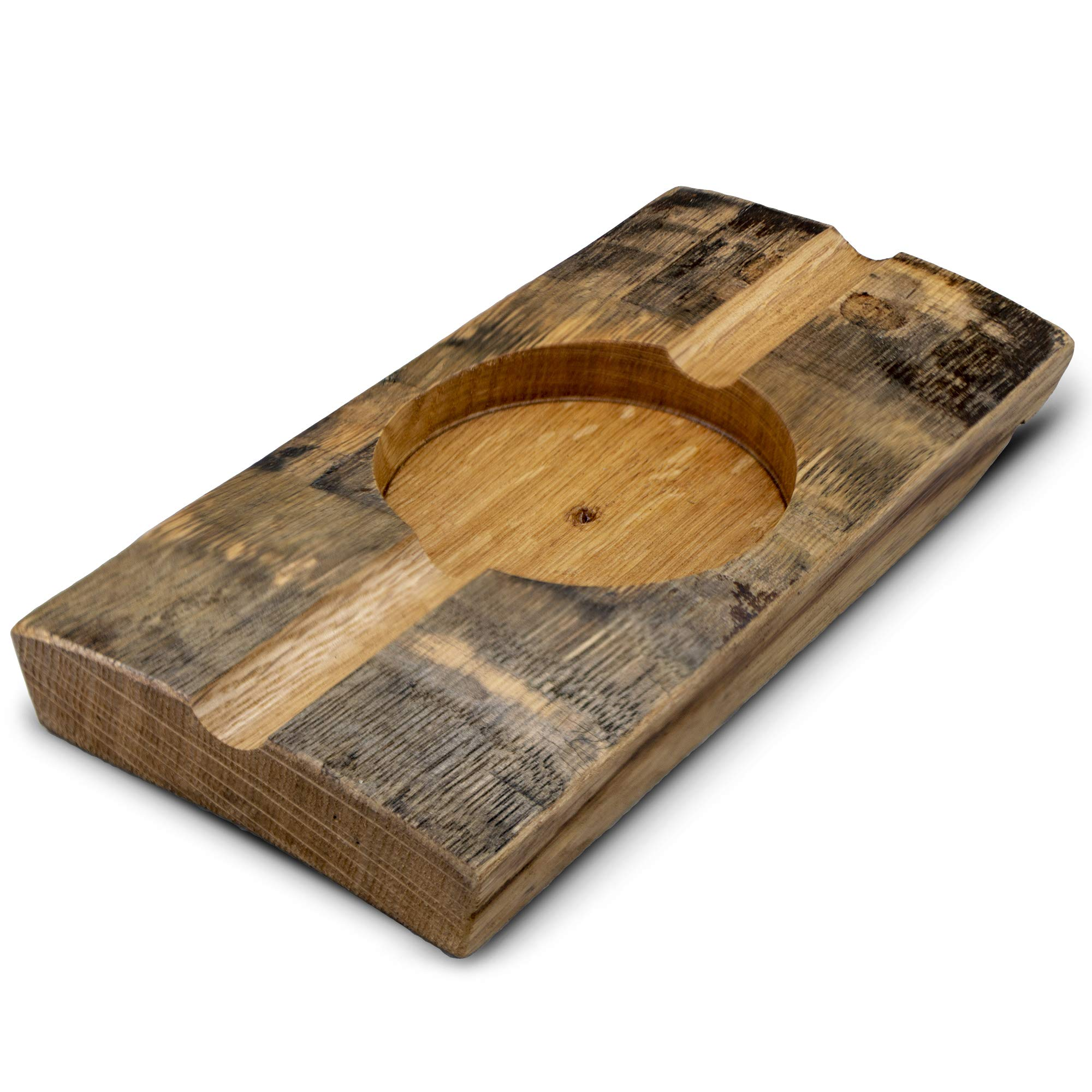 Briar and Oak Bourbon Barrel Stave Cigar Ashtray - Made in The USA from Reclaimed Authentic Bourbon Barrels - Great Cigar Accessories Gift Set for Men