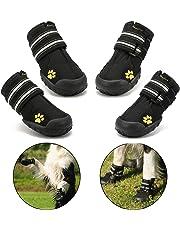 Royalcare Hundeschuhe Pfotenschutz, wasserdicht mit Anti-rutsch Sole passend für mittlere und große Hunde, schwarz