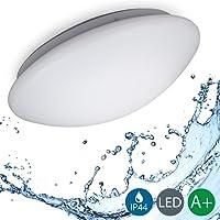 B.K. Licht plafonnier LED salle de bain, lampe moderne design épuré, éclairage intérieur plafond, 230V, IP44, 12W, IP44, Ø 290mm