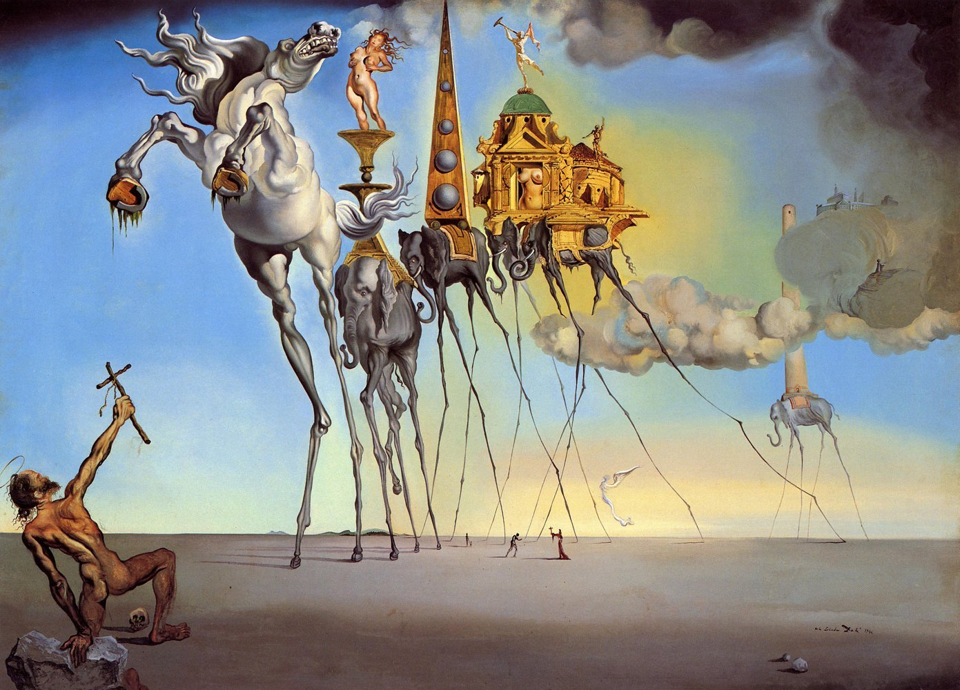 Amazon com salvador dali the temptation of st anthony size 24x36 inch gallery wrapped canvas art print wall décor posters prints