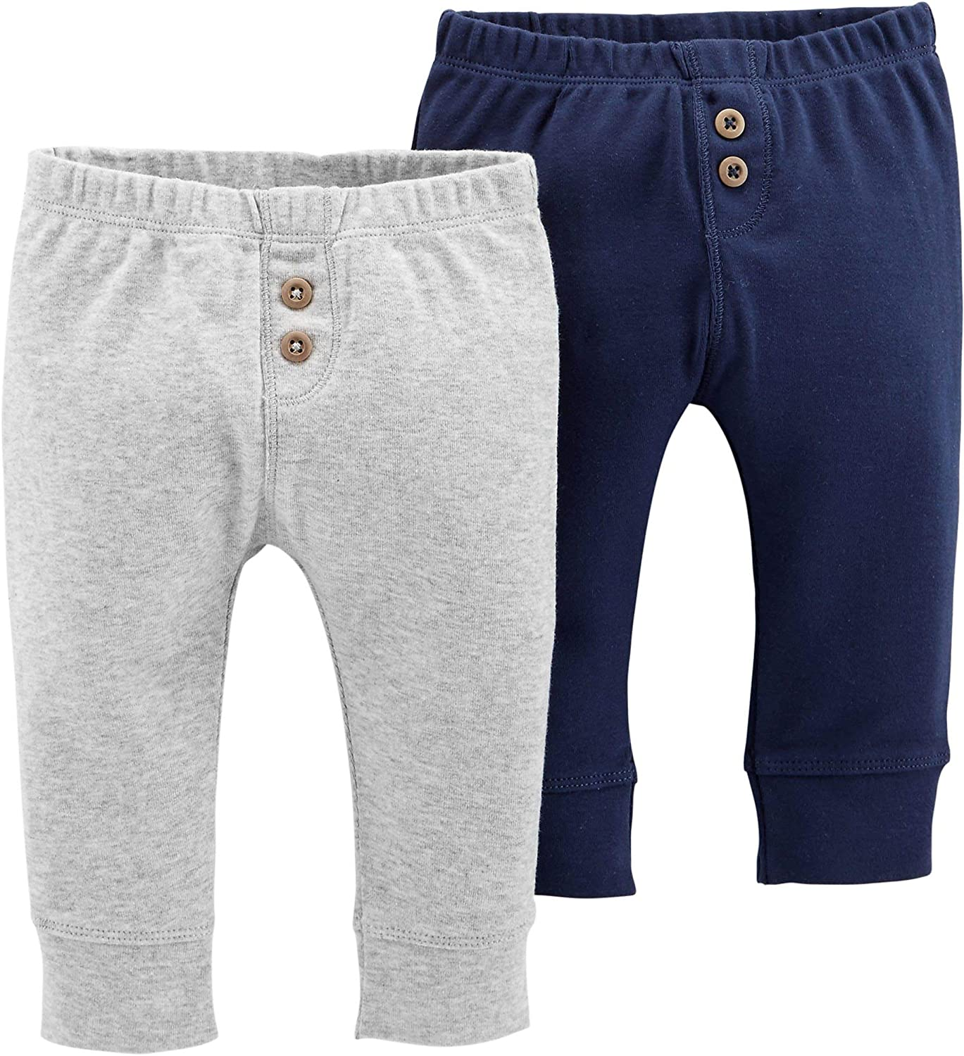Carters Baby Boys 2-pk Solid Banded Pull-On Pants NEWBORN