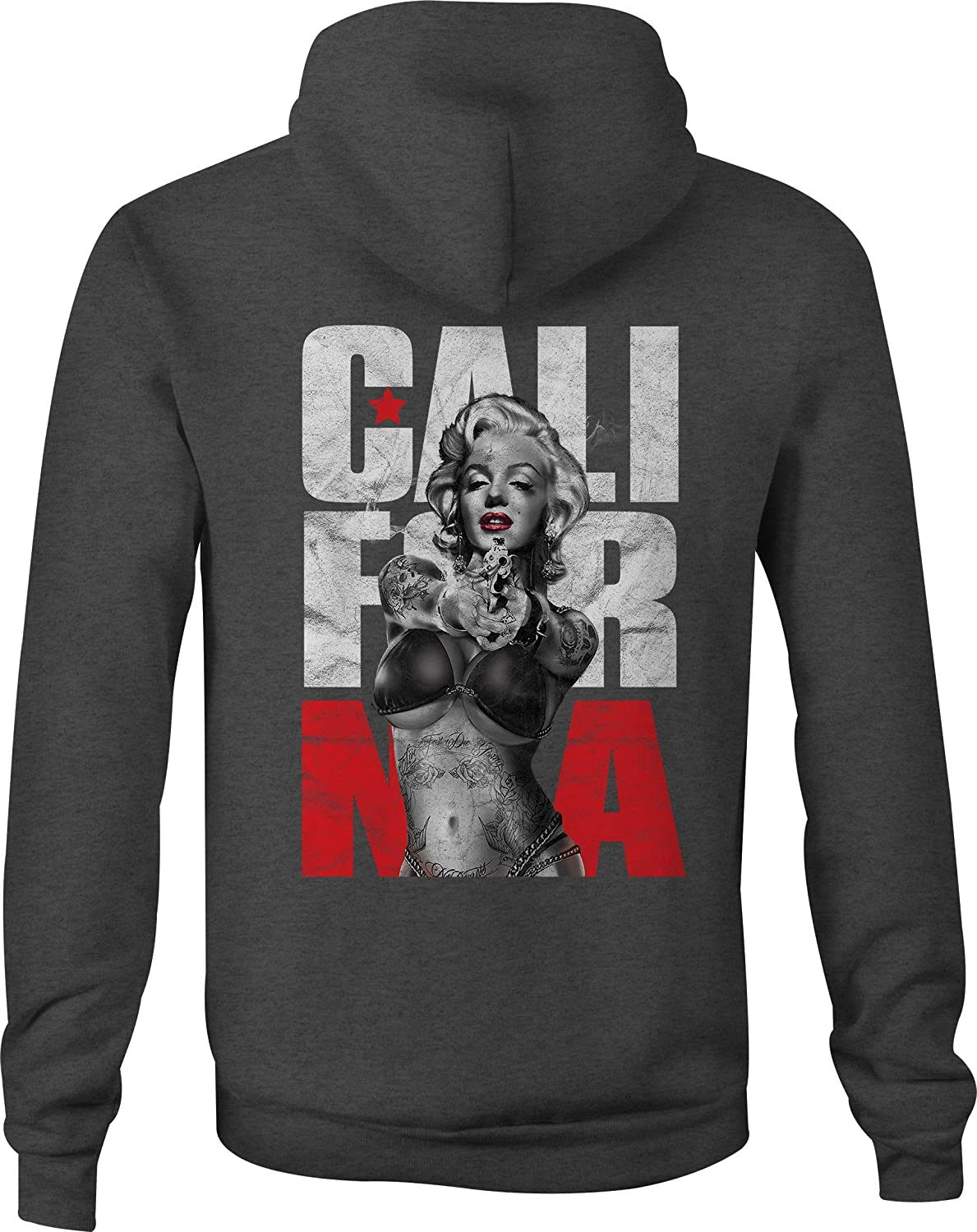 Zip Up Hoodie California Marilyn Tattoos Hooded Sweatshirt for Men