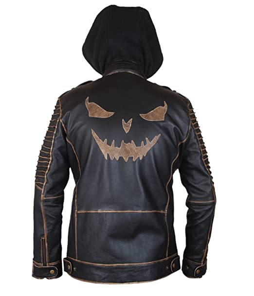 F&H Kids Genuine Leather Suicide Squad Joker Killing Jacket with Removable Hood XXS Brown