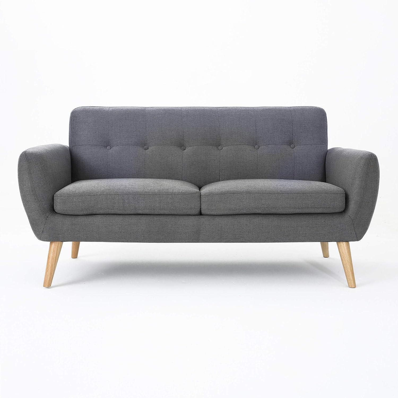 Christopher Knight Home Josephine Mid-Century Modern Petite Fabric Sofa, Dark Grey / Natural