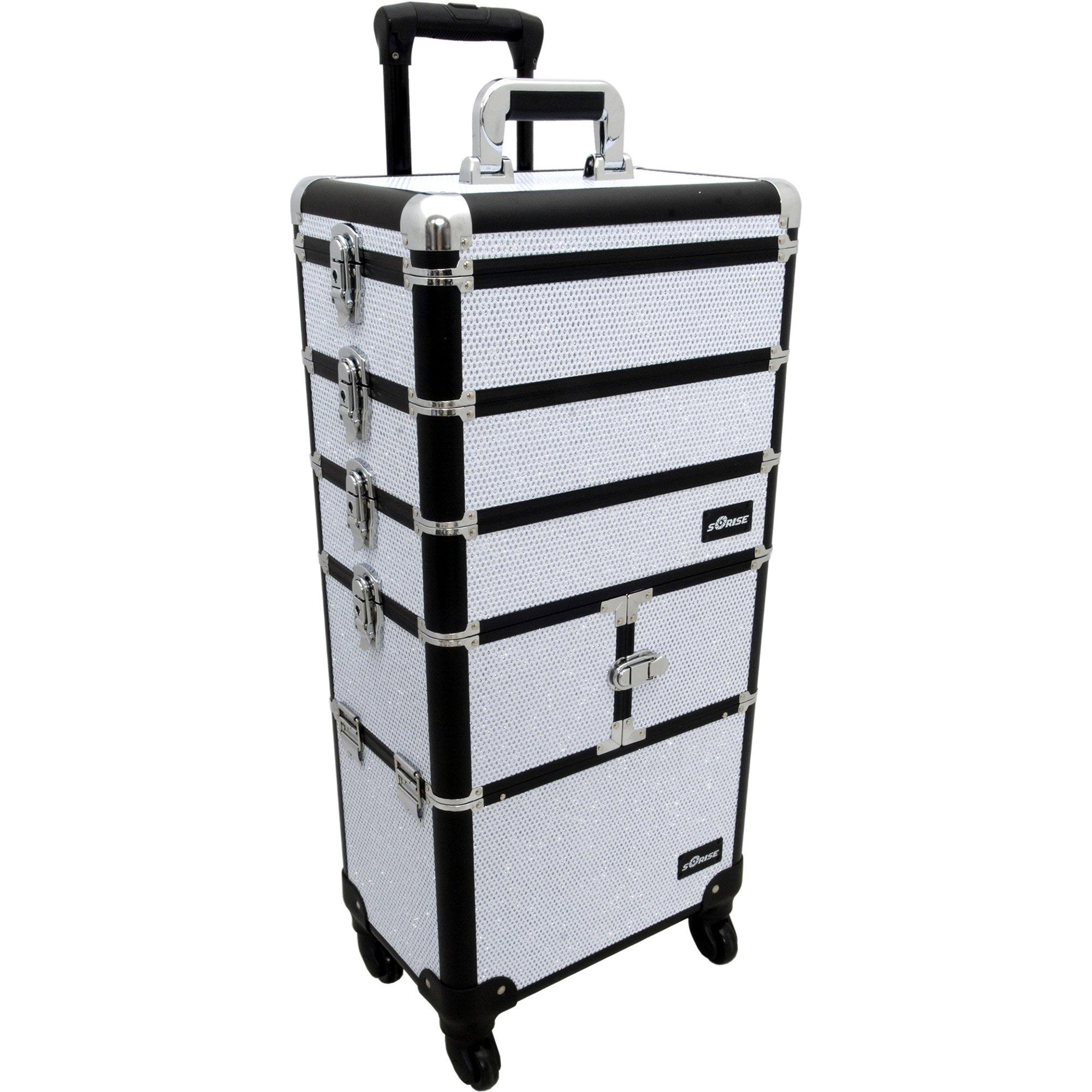 Sunrise Porto 2-In-1 Rolling Makeup Case Professional Nail Travel Organizer Box, White Krystal, 25 Pound