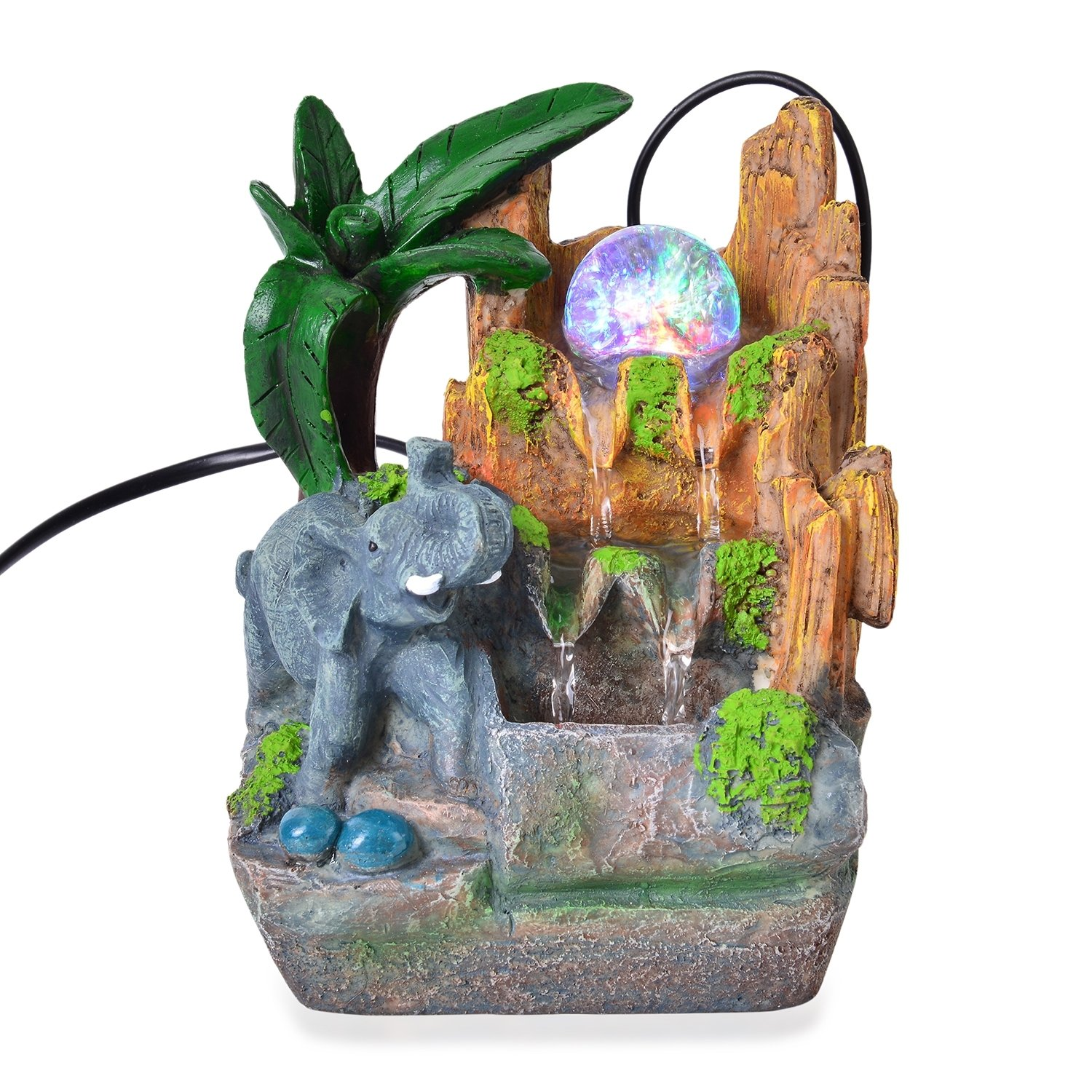 Shop LC Multi Color Glass LED Light Elephant's Waterfall Fountain Home 4.5x4x7.5''