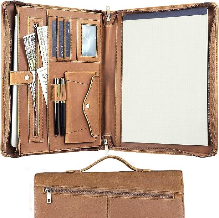 "Padfolio Zipper, Resume Portfolio for Men/Women, Leather Portfolio Folder, Padfolio with Handle, Laptop Carrying Case for ipad/MacBook (Up to 13.3""), Brown"